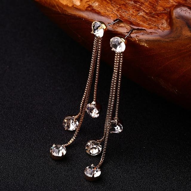 Краткое личность кисточкой долго дизайн игристые кристалл серьги женские серьги # E059