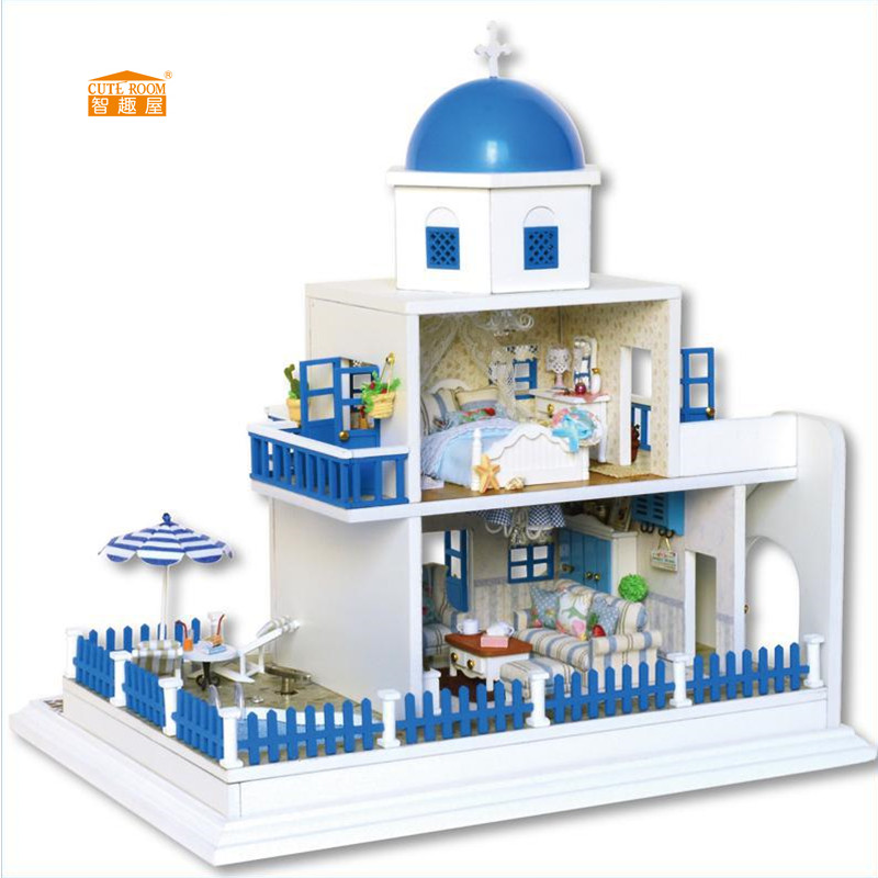 Home Decoration Crafts DIY Doll House Wooden Doll Houses Miniature DIY Dollhouse Furniture Kit Room LED Lights Gift A-026