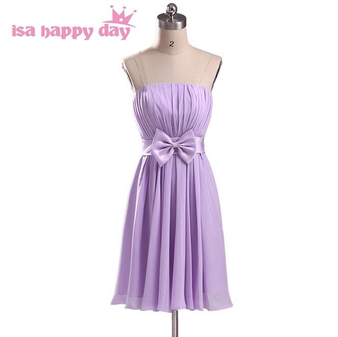 2019 New Lady's A-line Bridemaides Light Purple Chiffon Dress For Party Short Modern Bridesmaid Dresses Ladies Size 8 H1951