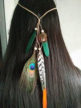 Diadema de plumas para mujer 2016 diadema de plumas Festival tocado Hippie  accesorios para el cabello bohemio Pavo Real tocado de plumas 7d2b4dba0695