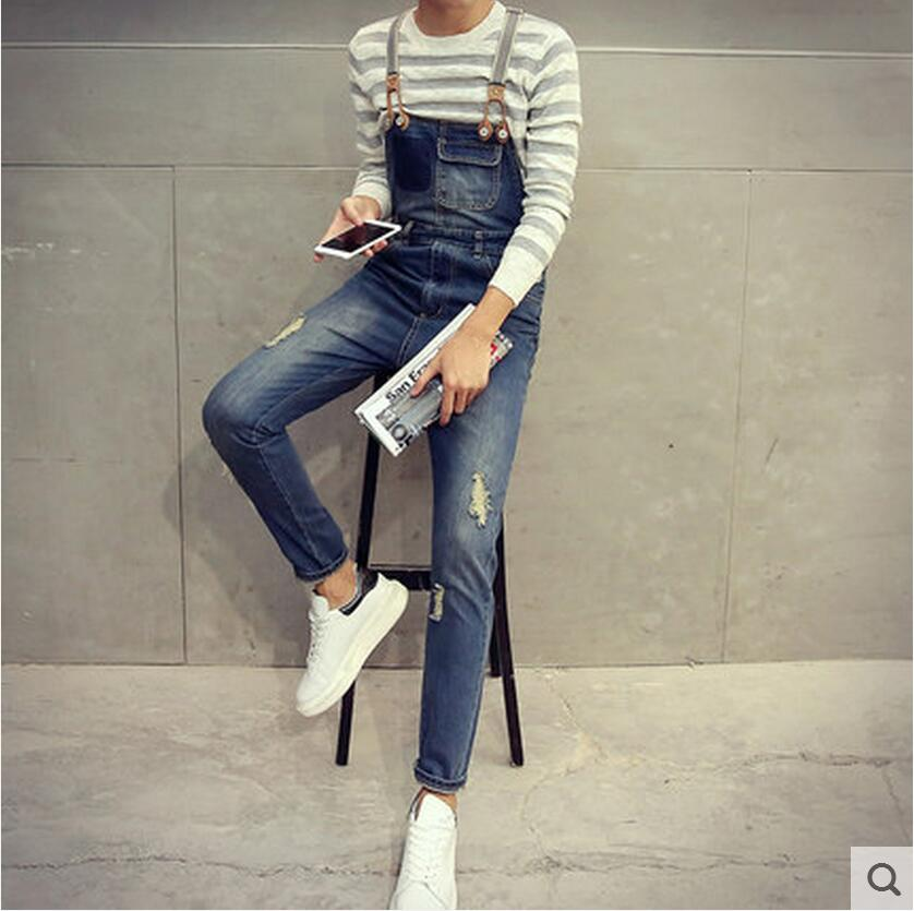 Vêtements Pièce Bleu Costumes Courroie Slim Salopette Chanteur Denim D'une Seule Spaghetti Pantalon 2016 Nouveaux Hommes Outillage Vintage Bib De xUqTwn0tg8