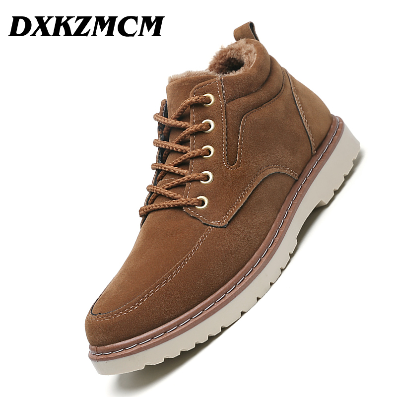 DXKZMCM Super Warm Men's Winter Suede Leather Ankle Boots Men Autumn Snow Boots Leisure Martin Autumn Boots Mens Shoes mycolen new men s winter leather ankle boots fashion brand men autumn handmade boots leisure martin autumn boots mens shoes