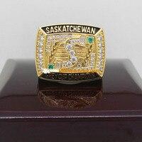 FreeShipping alta calidad 1989 Saskatchewan Roughriders La 77ª Gris Anillo de Campeonato de la Taza Sólida Con Ventilador De Caja De Madera Regalo de Los Hombres