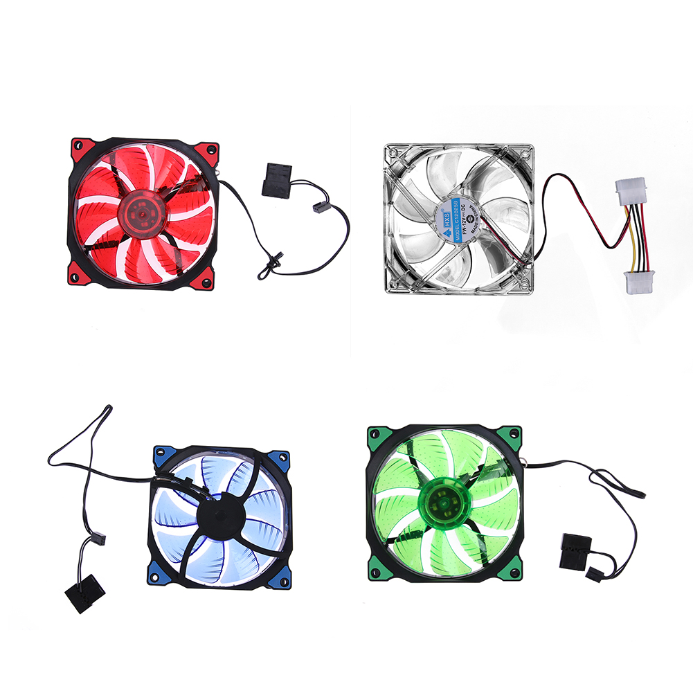 15 LED Lights Clear 120mm Ultra-silence Quiet PC Computer Case 3Pin 4Pin Power Port Cooler Cooling Fan With 4 pcs Screws computer cooler radiator with heatsink heatpipe cooling fan for hd6970 hd6950 grahics card vga cooler