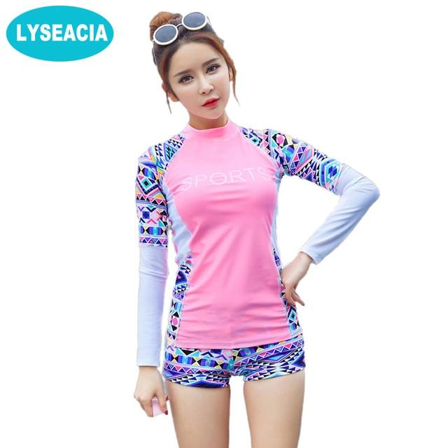 3d7c62fe66 Sun protection Long Sleeve Swimwear for Women Rash Guard Swimsuit Female T-shirt  Swimming Shorts Tracksuit for Women RASHGUARD