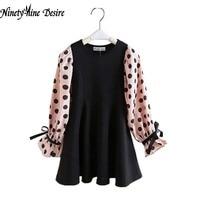 Retail 1 Pcs Baby Girl Dress Spring Summer New 2016 Long Sleeve Dot Print New Design