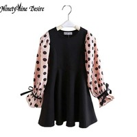 Retail 1 Pcs Baby Girl Dress Spring Summer New 2016 Long Sleeve Dot Print New Design