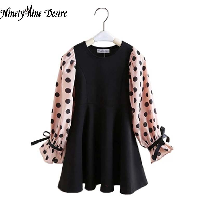 2018 Autumn New Girls Dress Long Sleeve Dot Print Design Kids Party Clothes Black Sweet Teens Toddler Children Princess Clothing цены онлайн