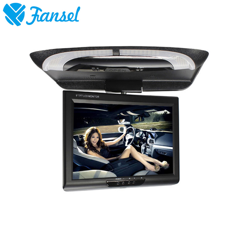 Fansel 9 Inch 800x480 Car Roof Mount LCD Color Monitor Flip Down Screen Overhead Multimedia Video Ceiling Roof mount Display gizcam 10 2 car ceiling flip down overhead roof mount hd screen video monitor car flip down monitor new