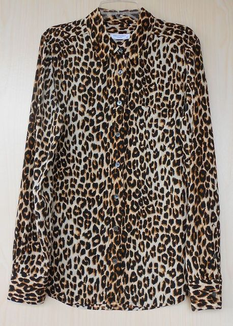 130f01697e5576 EQUIPMENT Slim Signature Authentic 100% Silk Leopard Print One Pocket Long  Sleeve Blouse S size
