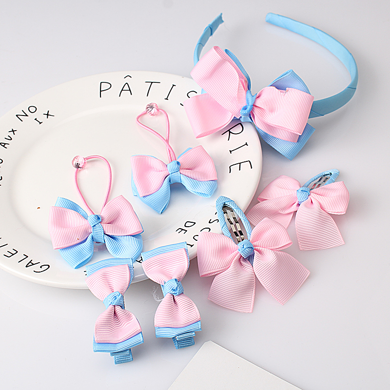 M MISM 1 Set=7PCS Bowknot Hairpin Cartoon Butterfly Baby Girl Hair Clip Toddler Kid Children Hair Accessories Headwear Hair Hoop 8 pieces children hair clip headwear cartoon headband korea girl iron head band women child hairpin elastic accessories haar pin