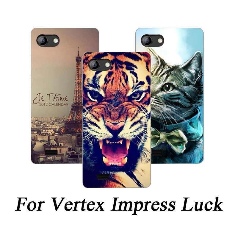 Miękkie etui z Tpu na telefon dla Vertex Impress Luck przypadki silikonowe malowane wilk Rose Cat Fundas Sheer dla vertex impress luck Back Cover