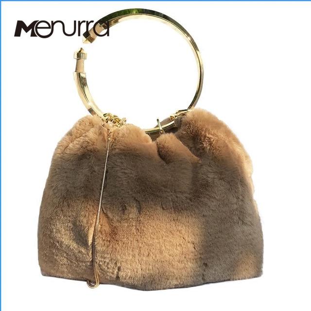 a52f443976e Women Handbags Luxury Designer Evening Bag Famous Brand Fur Clutch Bag  Circle Party Bag Ladies Hand