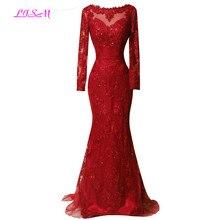 Echte Foto Rode Volledige Mouwen Avondjurk 2020 Kant Applicaties Mermaid Prom Dresses Lange Sweep Trein Formele Gowns