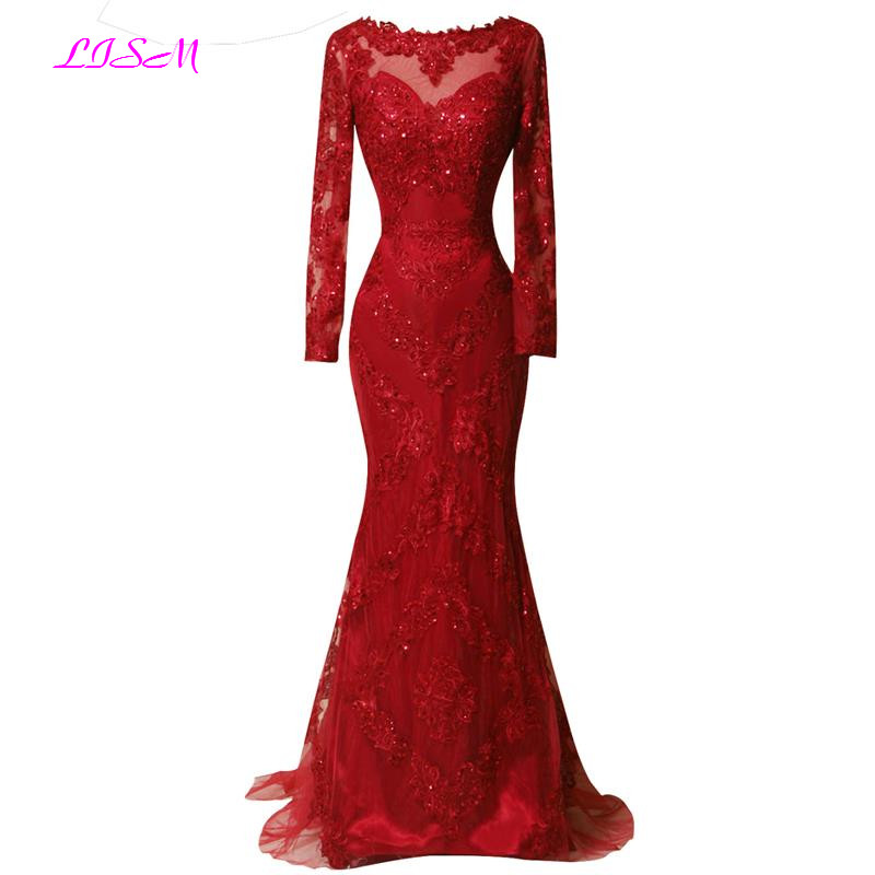 Real Photos Red Full Sleeved Evening Dress 2019 Lace Appliques Mermaid Prom Dresses Long Sweep Train Formal Gowns Ombre Dress
