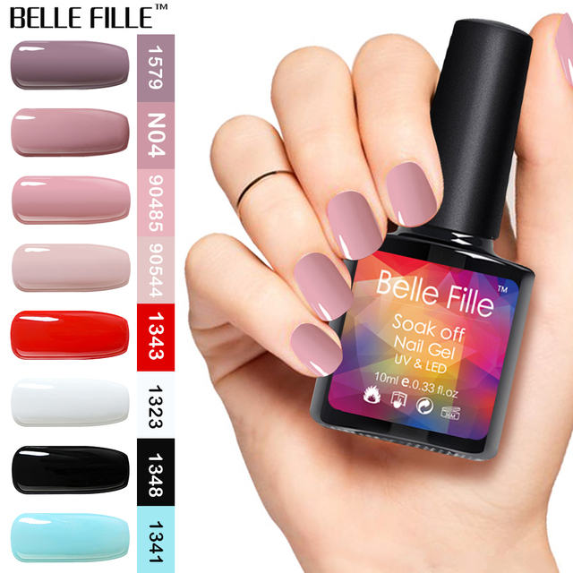 58dbc3f216 US $0.95 25% OFF|BELLE FILLE Gel Nail Polish UV 10ml White Black Nude Pink  Soak Off Gel Polish Gel Lacquer Nail Art Vernis Semi Permanent 90483-in ...