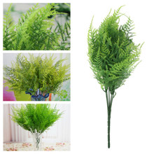 7 Stems Simulation Green Fern grass plant artificial fern persian leaves flower wall hanging plants home wedding shop decoration(China)
