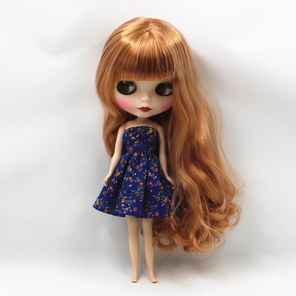 260BLKN1533/F8112S matte gesicht braun curly lange haar mit pony normalen körper nude puppe geeignet für ändern DIY-in Puppen aus Spielzeug und Hobbys bei  Gruppe 2