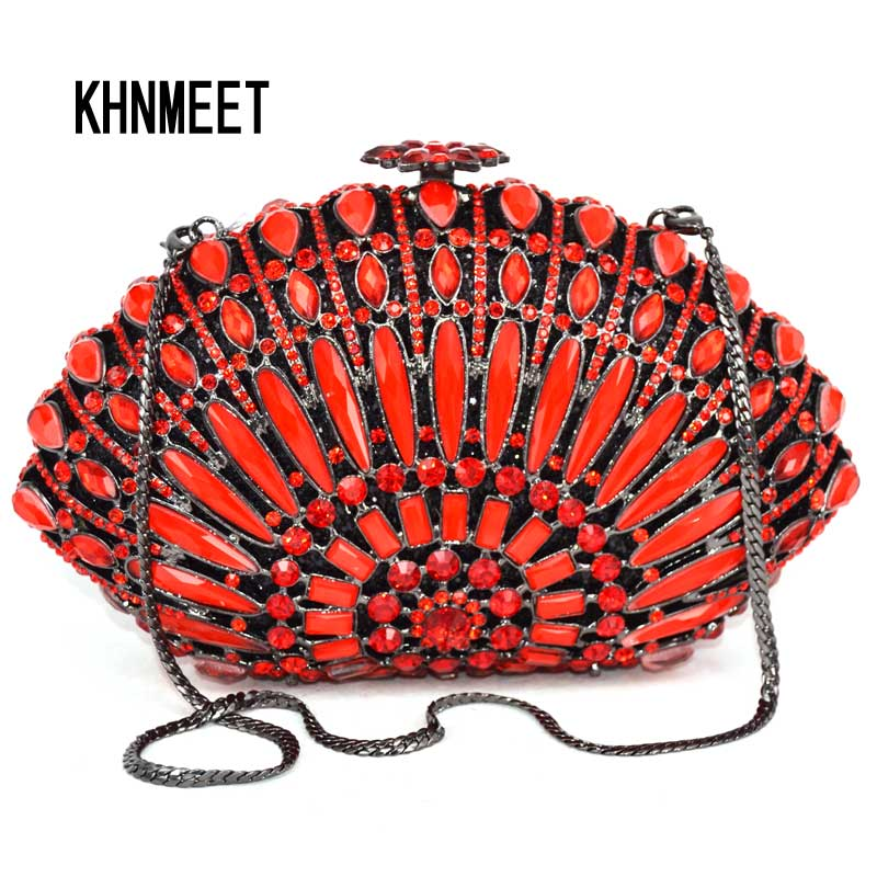 Red stripe Crystal Evening Luxury Clutches prom Bag Shell sparkly diamante banquet handbag with chain Wedding Party Purse SC011 luxury real new arrival day clutches diamonds flower women bag banquet crystal handbag wedding party handbags night clubs purse
