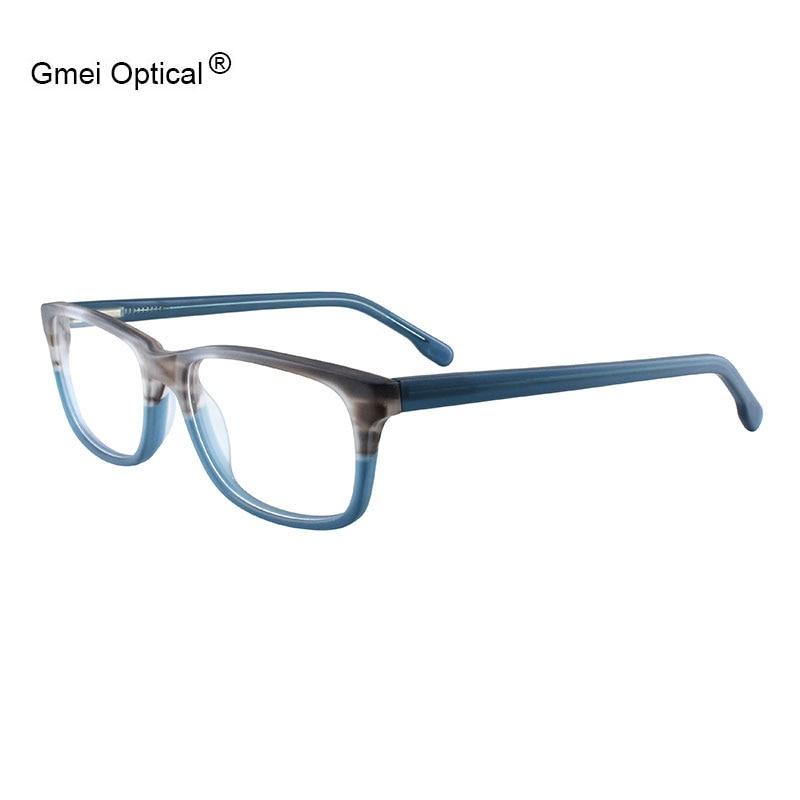 Gmei Optical Acetate Rectangular Full Rim Men's Prescription Glasses Frames Women Myopia Optical Frame With Spring Hinges T8061