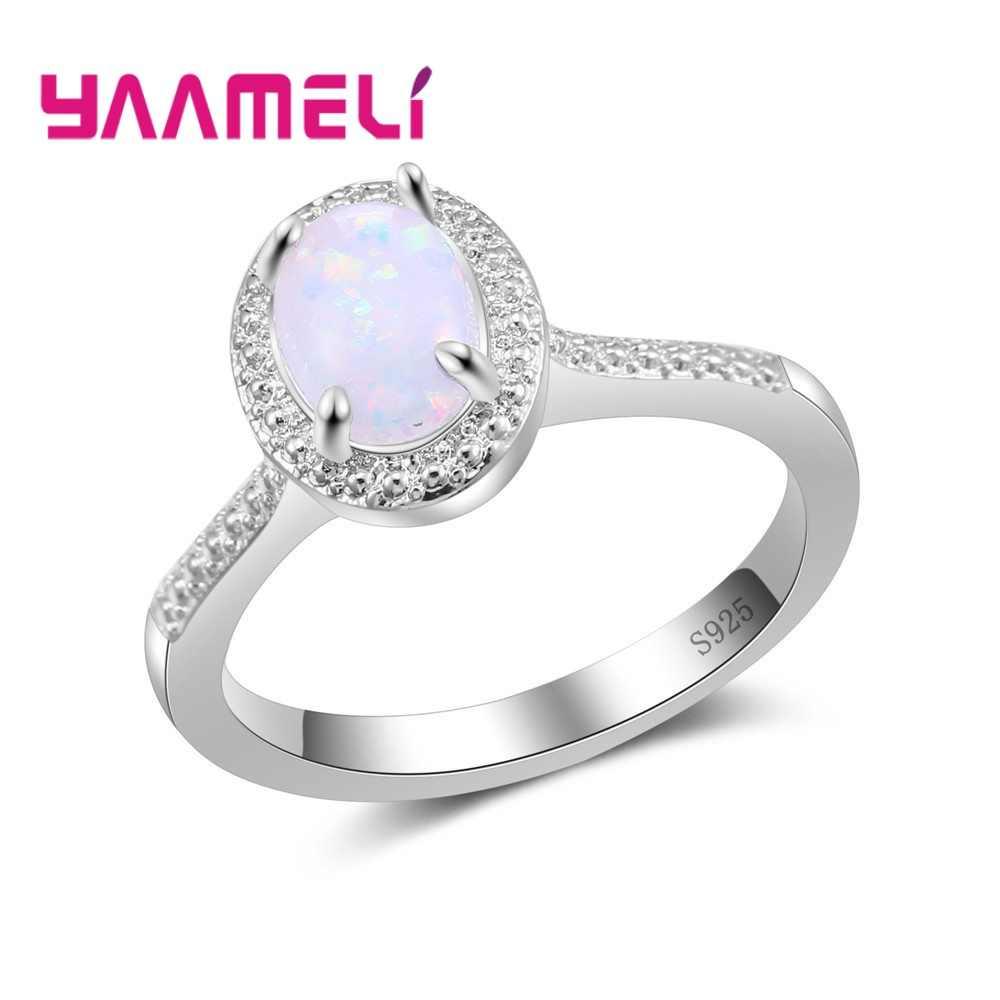Gorąca sprzedaż kobiet Trendy biżuteria biały ognisty opal kamienne pierścienie 925 Sterling Silver lato styl szlachetny knuckle pierścionki hurtownie
