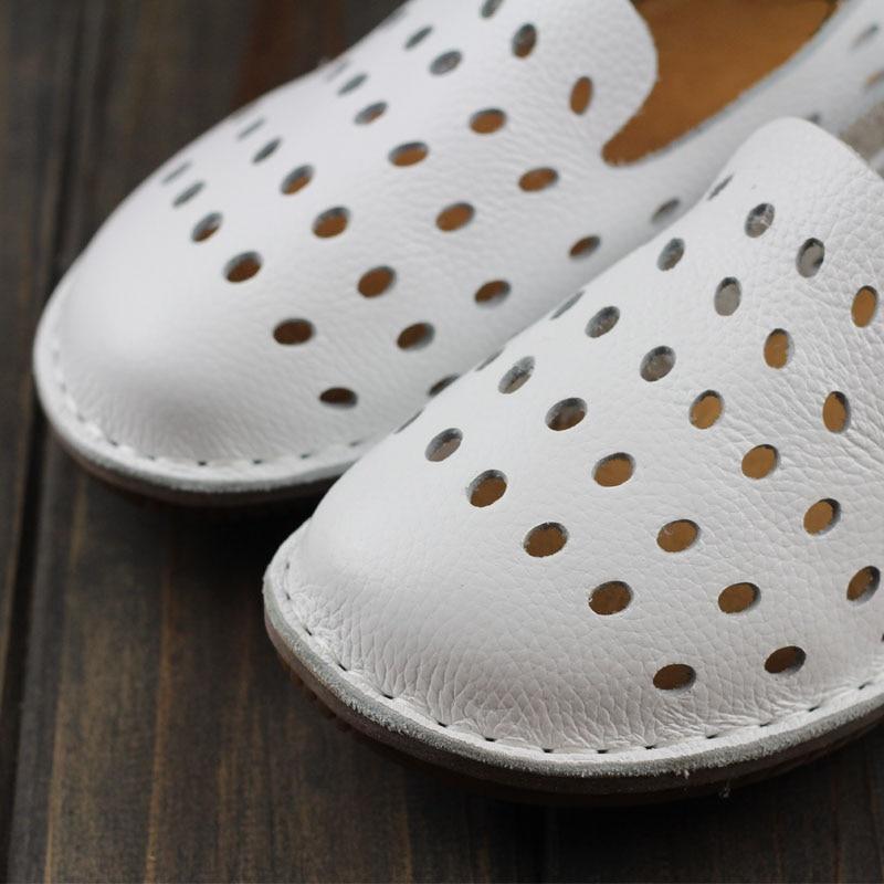 Ceyaneao Appartements Chaussures À Casual Toe Cuir 3 Main De Slip White 1957 Sur Femmes La Plat En Faites Plaine Véritable Dames Femme vvwFxqBrS