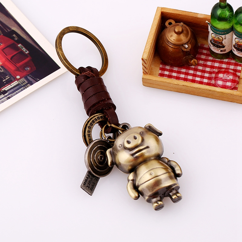 MJARTORIA New Fashion Cute Animal Pig Key Chains Vintage Style Handmade Weaving Braided Key Ring for Car Key Bag Leather Jewelry