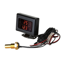 10MM Water Temperature Sensor Digital + Voltmeter 2 in 1 Gauge for 12V/24V Car Universal
