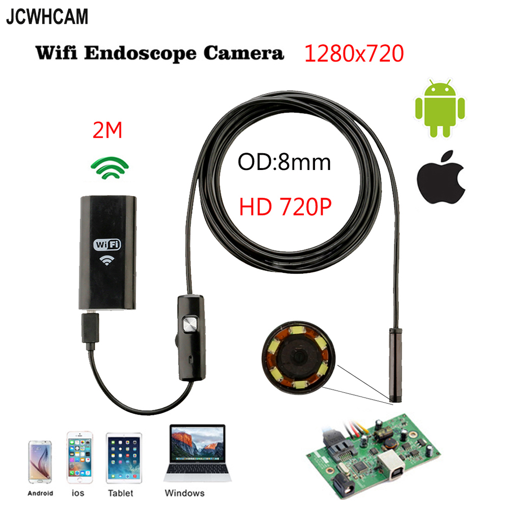 8mm Len 2MP HD 720P 2M 3.5M WIFI IOS Phone Endoscope Snake USB Camera Android Tablet PC Snake Pipe Inspection Borescope hd720p 8mm lens 1m iphone ios wifi endoscope camera snake usb pipe inspection borescope android phone tablet pc hd camera 6leds