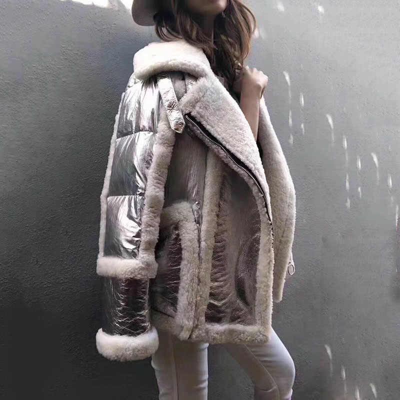 2019 silber farbe echtem schaffell leathe jacken für frauen mäntel winter warme drehen unten kragen lxuruy große lose größe outwear