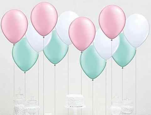 39pcs Pink /& Mint Green Tissue Pom Poms Paper Flower and Party Balloons for Baby Shower Birthday Wedding Decoration