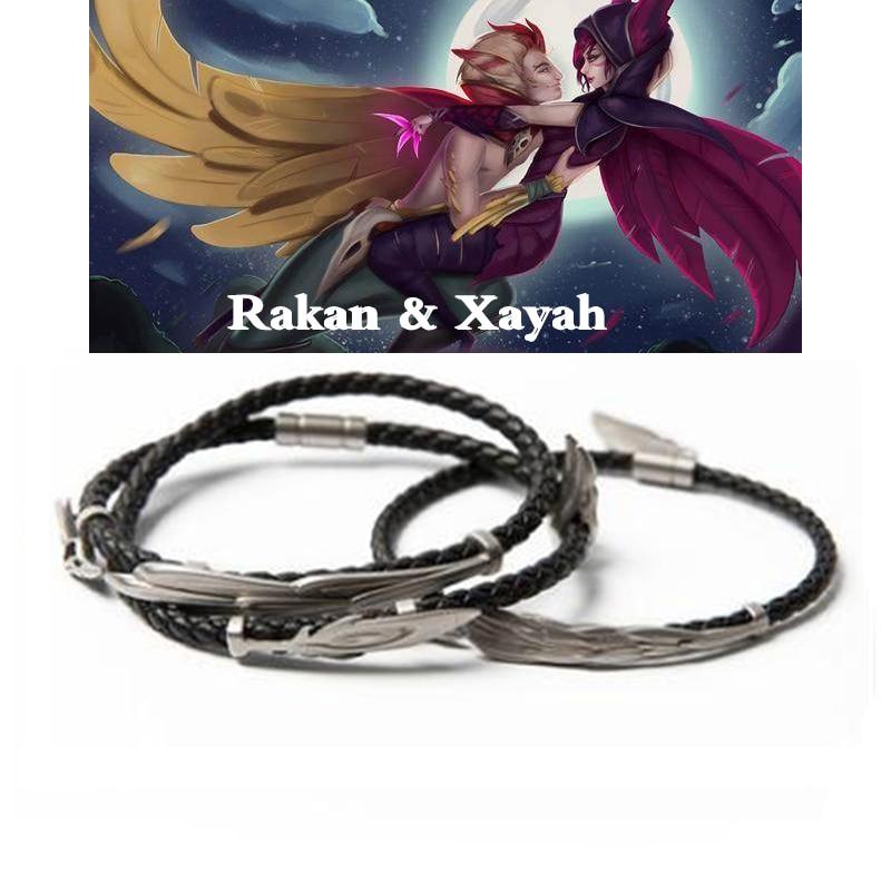 LoL ювелирные изделия, браслет Rakan и Xayah, серебро 925, очаровательные браслеты для женщин и мужчин, подарок на день Святого Валентина, рождественский подарок, бесплатный подарок
