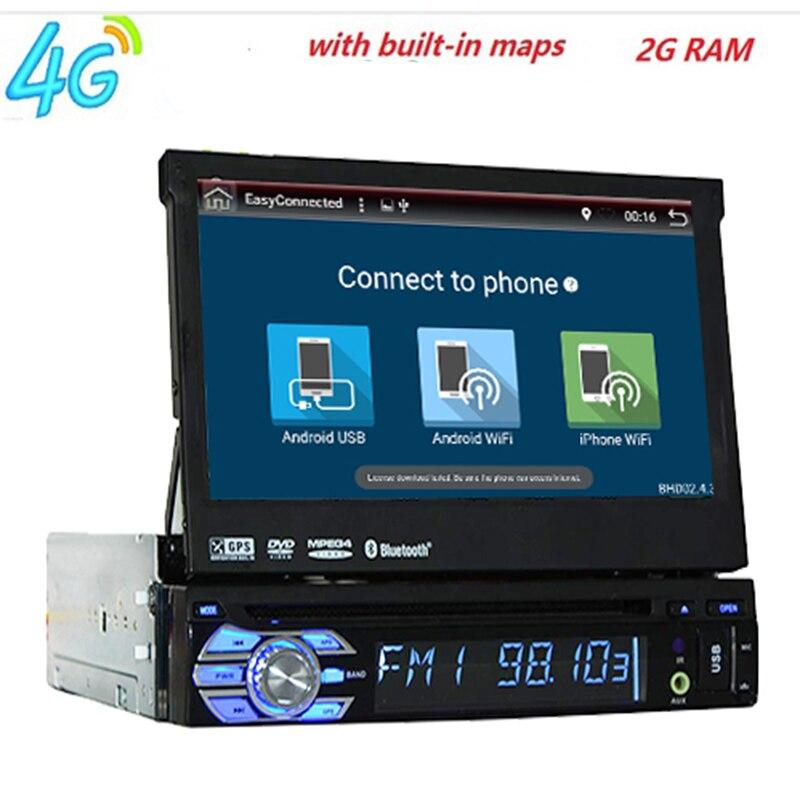 2 gb RAM unique 1din 7 pouces écran tactile 4g WIFI Android 8.01 Voiture GPS FM Radio Stereo head unité media Player BT USB SD RDS CFC