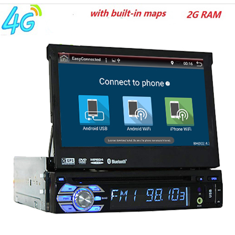 2GB RAM single 1din 7inch touchscreen 4G WIFI Android 7.1 Car GPS FM Radio Stereo head unit Media Player BT USB SD RDS SWC 1din 8gb gps audio stereo single 1din car radio digital touchscreen cpu headunit fm am rds receiver subwoofer aux car dvd player
