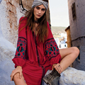 Palenda 2016 nuevo otoño botón o-cuello de algodón dress bohemia bordado con botón de ajuste ancho flojo rojo ocio popular caftanes