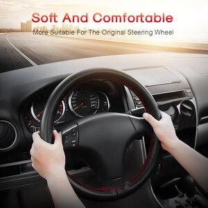 Image 3 - 자동차 스티어링 휠 커버는 자동차의 스티어링 휠에 37 38 cm diy 정품 가죽 브레이드의 외경 적합