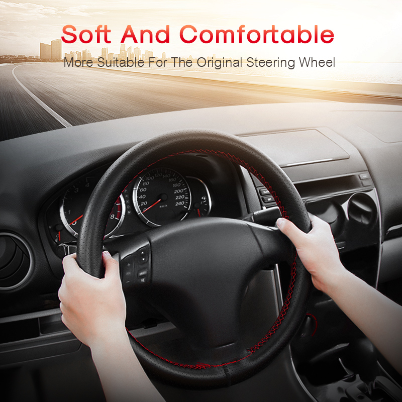 Car Steering Wheel Covers Fits Outer Diameter of 37 38CM DIY Genuine Leather Braid On The Steering Wheel Of Car in Steering Covers from Automobiles Motorcycles