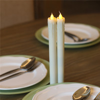 Wholesale White Ivory Color Battery Operated Cemetery Led White Taper Candle Set Of 2 For Wedding