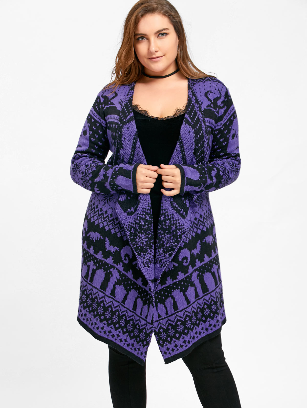 Gamiss Plus Size Halloween Skull Drape Sweater Big Size Winter Women Long Sweaters Open Stitch Knitted Outwear Female Cardigans Кофта