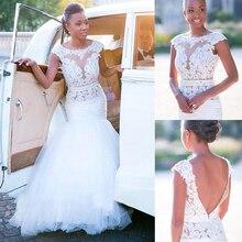 Narin Tül Doğal Bel Mermaid düğün elbisesi Dantel Aplikler Boncuk Kanat See Through gelin elbiseleri