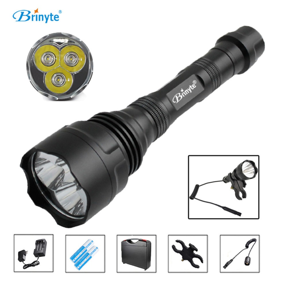 Free Shipping Brinyte S38 High Power 3 CREE XR-E Q5 LED Search Rescue Flashlight with 18650 Battery Charger Mount Remote Switch brinyte s18 high power tactical torch lamp cree xm l2 u4 led search rescue flashlight with gun mount 18650 battery and charger