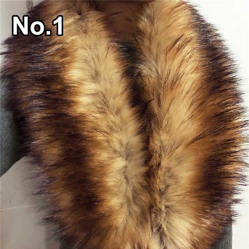 Luxo da Pele Do Falso Do Xaile do Envoltório do Lenço para As Mulheres Inverno Quente Gola De Pele Macia Casaco Peludo Roubou Cachecóis Feminino Lenços de Colarinho