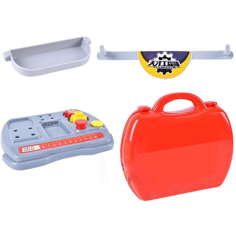 Kids Construction Tools Toy Set Plastic Screws Hammer Pretend Play Suitcase Garden Carpentry Tool Box Gift for Children (Red)