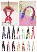 2015 summer style imitation silk scarf women twilly ribbon plaid print bags handle decoration bow wrapping