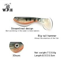 W.P.E Brand Soft Lure 85mm 6pcs/pack 3D eyes Big T-Tail Artificial Silicone Body Swim Bait Fishing Tackle Wobbler