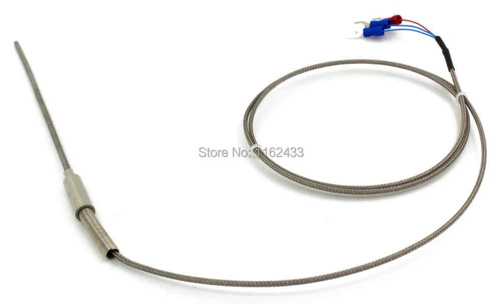 FTARP08 PT100 Tipe 1 M Dikepang Kabel 150 Mm Fleksibel Kepala Probe RTD Sensor Suhu Diameter 3 Mm 4 MM 5 Mm 6 Mm WZPK-191