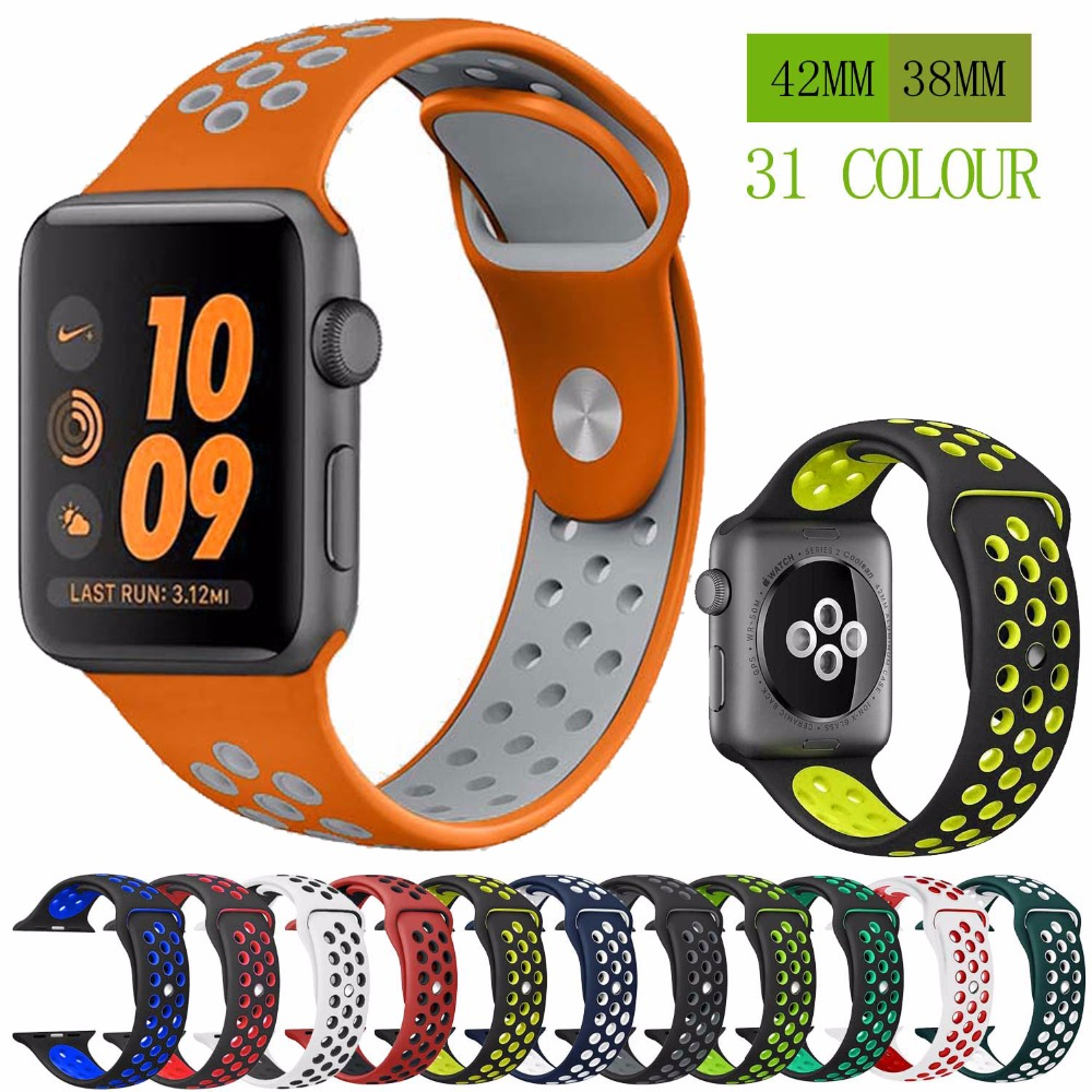 online store 91610 79b45 Silicone strap band for Nike apple watch series 4 3 2 1 42mm 38mm rubber  wrist bracelet adapter iwatch 40 44mm Apple watch band