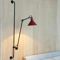 Retro Loft Wall Lamps Iron Lampshade Red Bedroom Bedside Lamp Adjustable Home Wall Decor Light Fixture