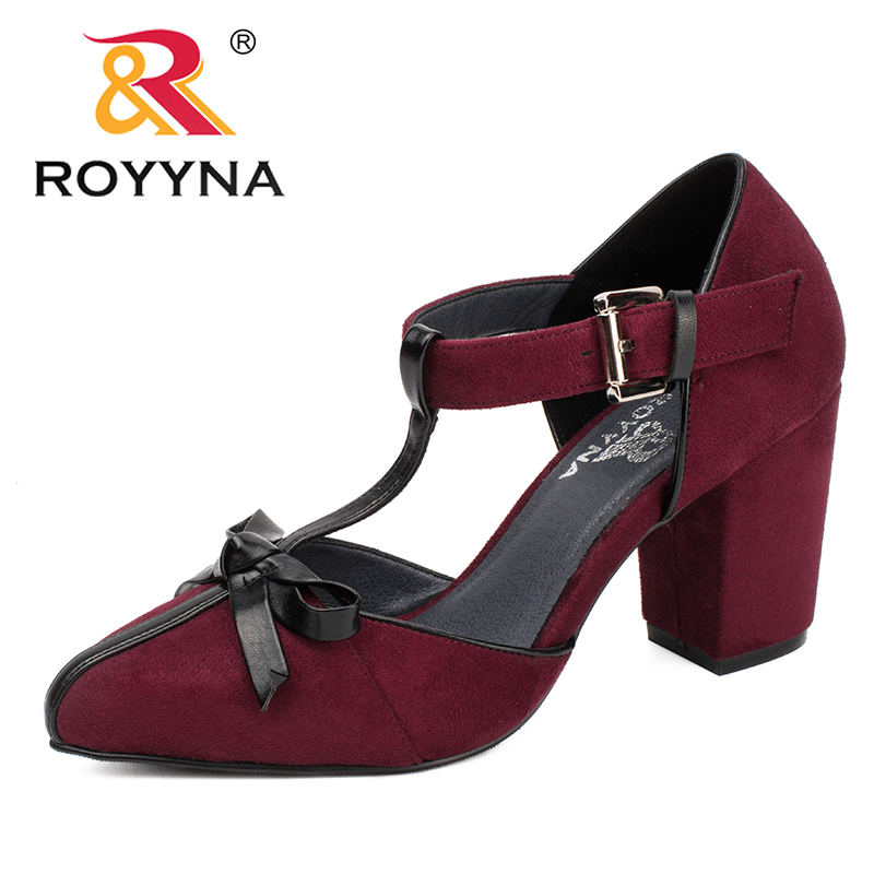 ROYYNA New Mature Style women Pumps Round Toe Women Dress Shoes Flock Lady Wedding Shoes Comfortable Light Fast Free Shippng royyna new fashion style women pumps round toe women dress shoes high heels women office shoes slip on lady wedding shoes