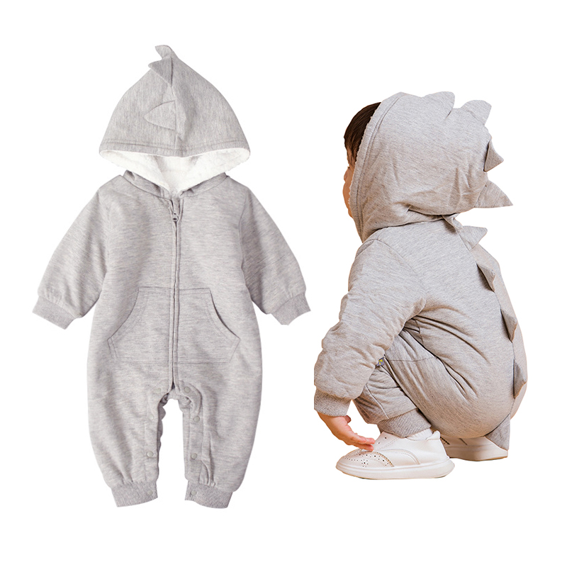6-18M animal Warm baby rompers dinosaur boy winter clothes baby onesie for girls baby costume christmas romper toddler strampler baby dinosaur romper